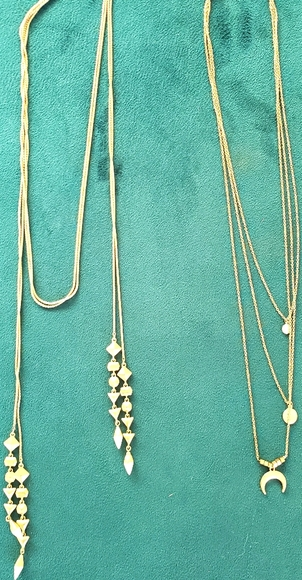 2 Boho layer brass coloured necklaces